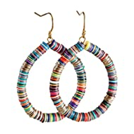 Bohemian Multi-Colored Sequin Hoop Gold Earrings - SPUNKYsoul Collection
