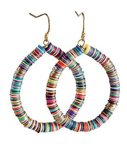- Bohemian Multi-Colored Sequin Hoop Gold Earrings - SPUNKYsoul Collection