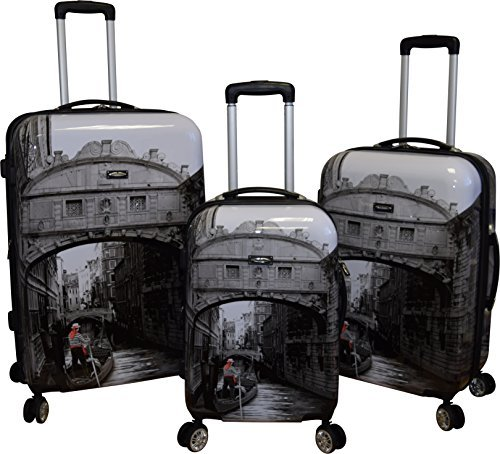 Set Venice - Kemyer 788 Vintage World Series Lightweight 3-PC Expandable Hardside Spinner Luggage Set (New Venice)