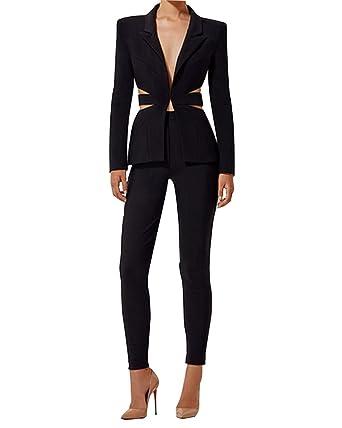 Amazon Com Uonbox Women S Cut Out 2 Pieces Slim Fit Blazer Jacket
