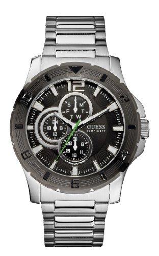 Guess Men's Stainless Steel Date Steel Bracelet Mineral Glass Watch W11617G1
