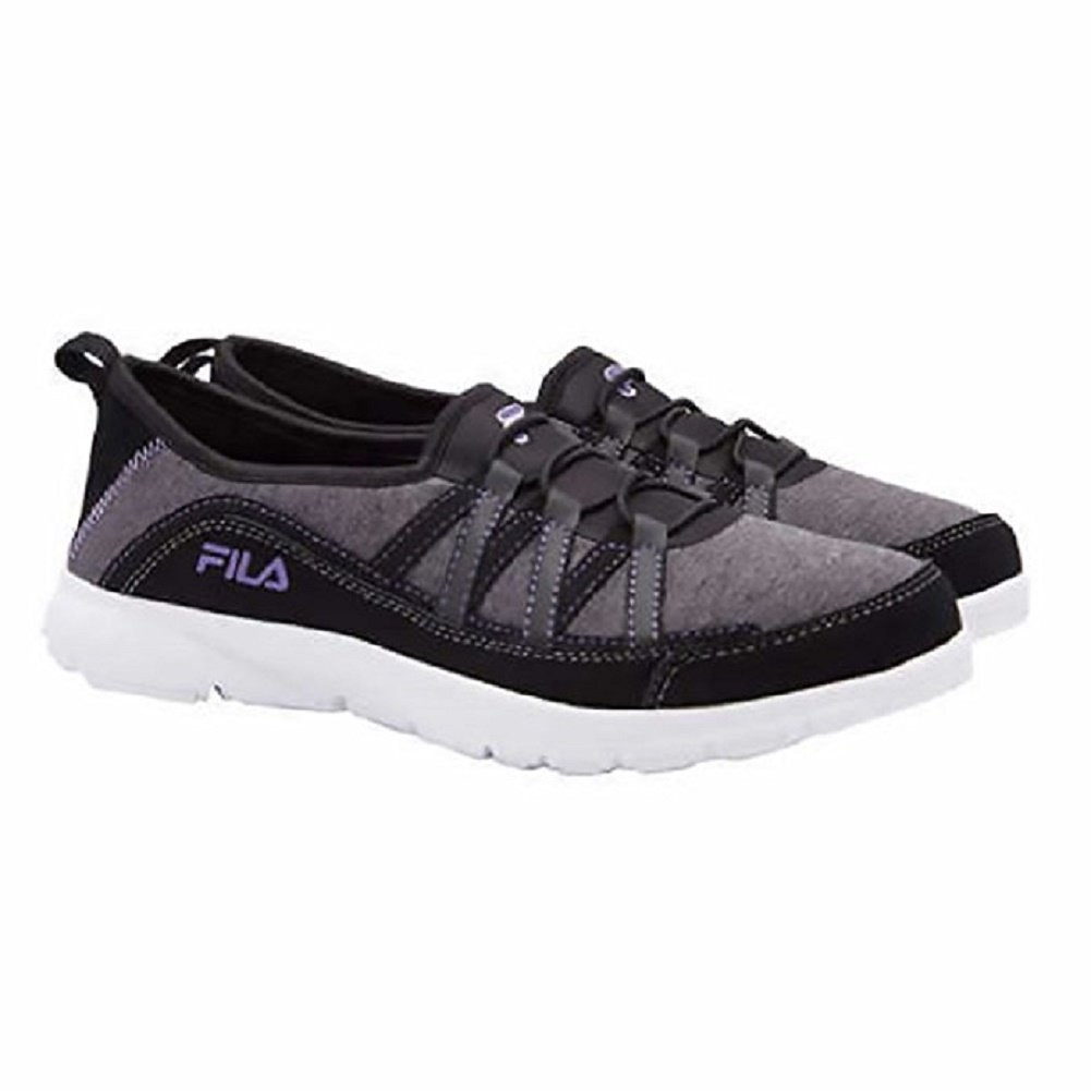 Fila Womens Pilota Memory Foam Breathable Slip On Shoe Sneaker, Black / Grey / Purple,8.5 B(M) US