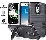 LG Aristo 3/Aristo 2/Aristo 2 Plus/X210/Tribute Dynasty/LV3 2018/Zone 4/Fortune 2/K8 2018/Risio 3/Rebel 3 LTE/K8 Plus Case with Screen Protector, L00KLY [Kickstand] Dual Layer Card Slot Wallet (Black)