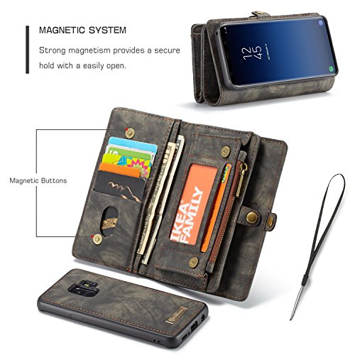 Samsung Galaxy S9 Plus Wallet, ICE FROG Detachable Magnetic Handmade Cowhide PU Leather Credit Card Slots Purse Pouch Flip Shell Removable Back Phone Case Cover - Black by ICE FROG (Image #2)