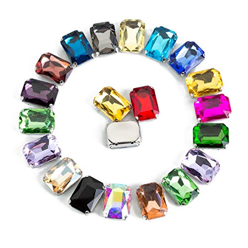 Sew On Rectangle Rhinestone Sew On Octagon Glass Crystal Rhinestones in Silver Setting 50 Pcs by Choupee (Mixed Color, 10 X 14 MM) ()