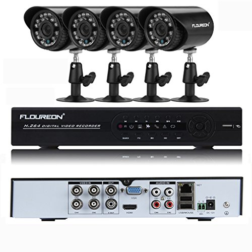 Floureon 4CH Onvif 960H CCTV DVR Security System + 4 Indoor/Outdoor Waterproof Night Vision 900TVL IR-CUT Bullet Camera Home Security Surveillance System Kit (No HDD)