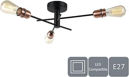 Hallway E27//ES Semi-Flush Ceiling Light HARPER LIVING Ideal for Living Room Kitchen Suitable for LED Upgrade Black with Matt Silver Black and Copper, 3 Lights B/&B Bedroom Hotel