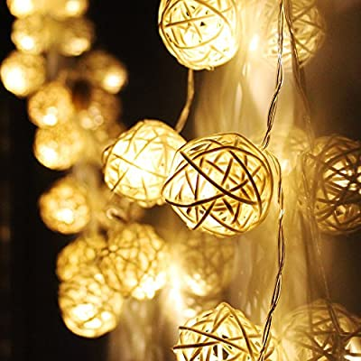 Rattan Ball Battery Operated LED Christmas String Lights - 2 Work Modes, 10ft Length, Warm White 20pcs Balls for Christmas, Holiday, Party, Event Decorative Lighting