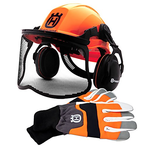 Husqvarna Pro Forestry Helmet and Large Chainsaw Protective Glove Combo