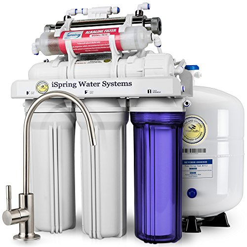 iSpring RCC7AK-UV Deluxe Under Sink 7-Stage Reverse Osmosis Drinking Water Filtration System with Alkaline Remineralization and UV Sterilizer WQA Gold Seal Certified