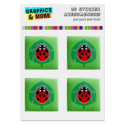 Red Ladybug on Green Leaf Ladybird Computer Case Modding Badge Emblem Resin-Topped 1