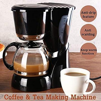 Cafetera eléctrica de goteo de vidrio, 550 W, 220 V, 600 ml, 4 – 6 tazas, tetera, cafetera de goteo, jarra de vidrio, jarra para el hogar, té, café: Amazon.es: Hogar
