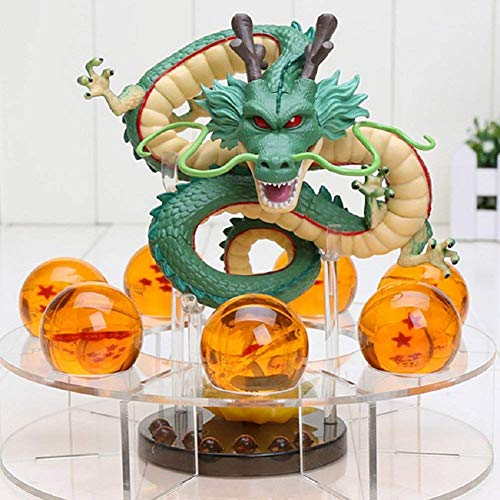 KAKALIN New Dragon Ball Z Shenron Action Figures Great Gift with Dragon 15cm + 7pcs Crystal Ball 3.5cm + Shelf Ball (Statue Figure Set)