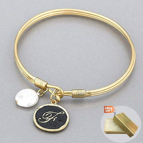 Gold Initial F Charm Flat Pearl Simple Bangle Fashion Jewelry Bracelet For Women Gold Cotton Filled Gift Box for Free