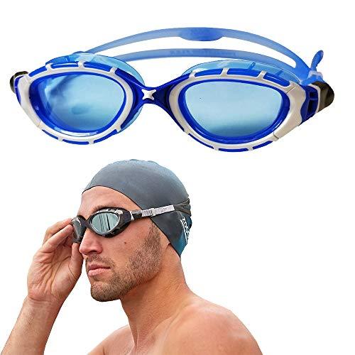 - Zoggs Predator Flex 2.0 Swimming Goggles No Leaking Anti Fog UV Protection Triathlon Silver-Blue/Blue