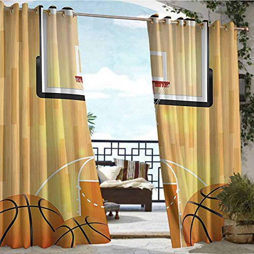 Outdoor Privacy Curtain for Pergola Sports Decor Collection,Basketball Court Ball and Hoop Madness Rim Court Parquet Hardwood Picture Print,Ivory Orange Black,W72