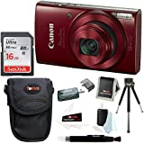Canon PowerShot ELPH 180 20 MP Digital Camera (Red) w/ 16GB Accessory Bundle