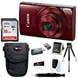 Canon PowerShot ELPH 180 20 MP Digital Camera (Red) w/ 16GB Accessory Bundle