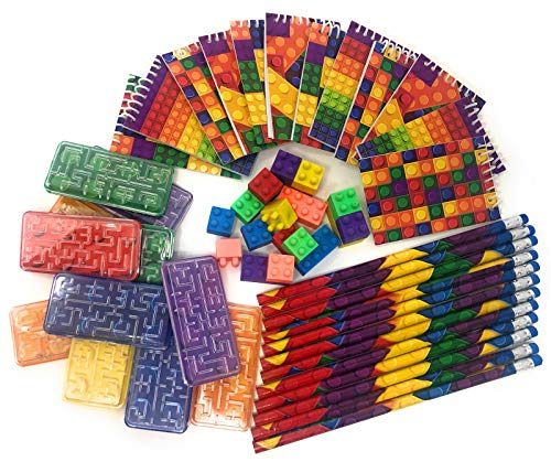 Brick Building Blocks Party Favor Novelty Toys Set - Block Pencils, Mini Note Pads, Erasers, Ball Mazes, Bags. 60 Piece Bundle for Children Lego Birthdays, Goody Bags, School Prize Boxes, Halloween]()