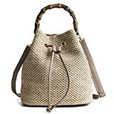 Women Woven Straw Bucket Bag Rattan Bag Tote Bag Shoulder Bag Crossbody Bag Handbag Beach Bag, Handwoven/Crochet/Round Handle
