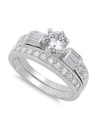 Sterling Silver Wedding Set Engagement Ring Clear Round 6mm Sizes 4-13