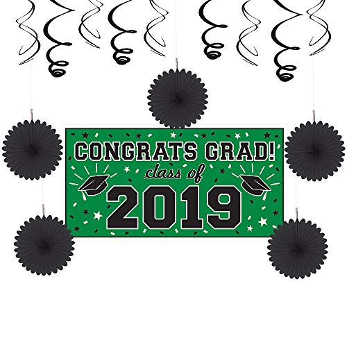 Party City Green Congrats Grad 2019 Graduation Basic Decorating Supplies with Banner, Paper Fans, and Swirls -