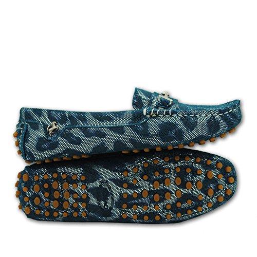 Minishion Flickor Kvinna Bekväm Slip-on Mocka Läder Körning Skor Loafers Mockasin Grön Orm-print