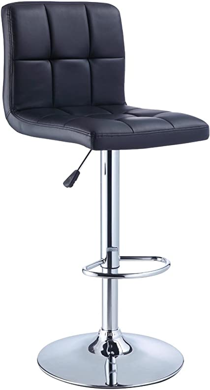 powell quilted faux leather and chrome adjustable height bar stool black