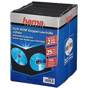 Hama - Pack de 25 cajas dobles para DVD, color negro