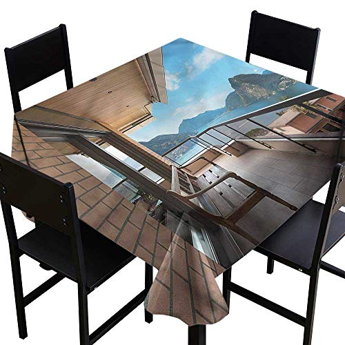 Modern Washable Square Tablecloth Lugano Lake Panoramic View It's Good to be Home Gorgeous High End Quality 54 x 54 Inch