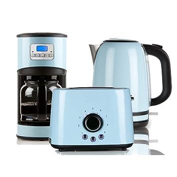 frühstücksset kaffeemaschine toaster wasserkocher blau