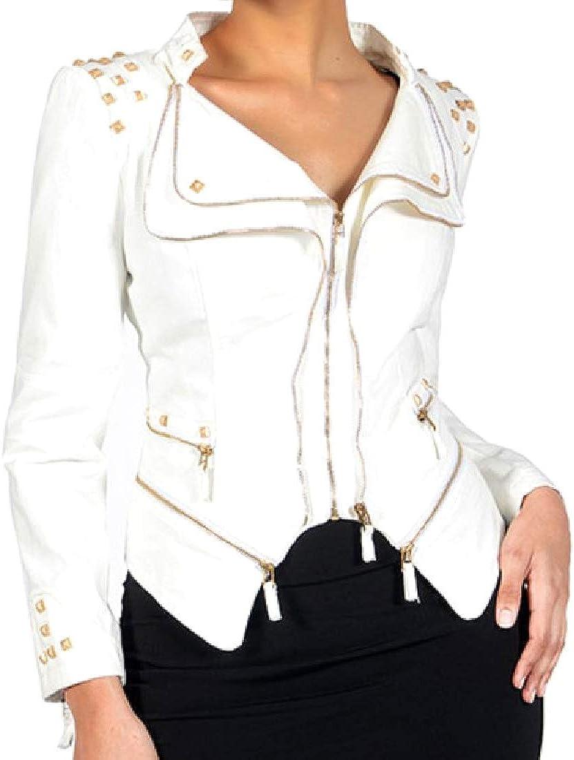 Winwinus Womens Punk Rock Swallowtail Slim Fit Long Sleeve Jean Coat