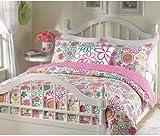 Girls reversible flower and polka dot quilt set (Queen)