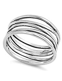 Knot Bar Line Design Polished Cute Ring New .925 Sterling Silver Band Sizes 5-11