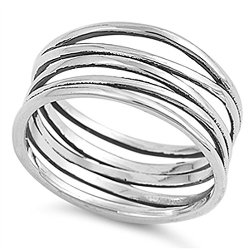 Knot Bar Line Design Polished Cute Ring New .925 Sterling Silver Band Size 8