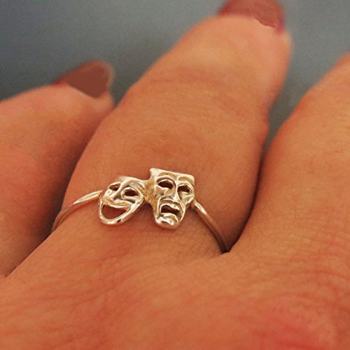 Comedy Tragedy Ring Silver, Theatre Jewelry Gifts for Actors - size -