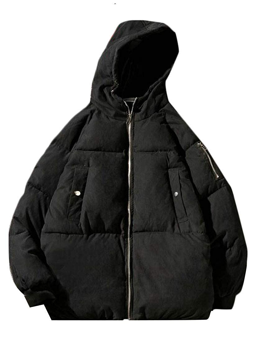 Joe Wenko Mens Winter Thick Plus Size Quilted Packable Hooded Down Parka Coat