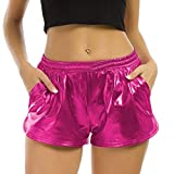 FarJing Women Fashion High Waist Yoga Sport Pants Leggings Metallic Shiny Pants Shorts (M,Hot Pink)