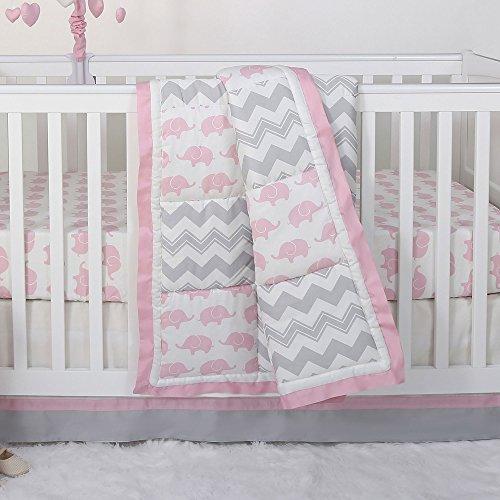 Pink Elephant Baby Bedding - Pink Elephant and Grey Chevron Patchwork 3 Piece Crib Bedding Set - Peanut Shell