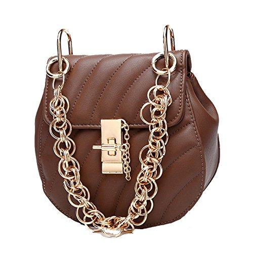 Dingxq Messenger tracolla Vintage Sra Estilo a mano Brown a La Leather Clasico Borsa a0rBaq