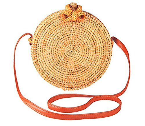 Handwoven Round Rattan Bag for women | Handmade Rattan Purse | Bohemian Shoulder Bag | Crossbody Straw Handbag (D: 7.9 in (L), Round ()
