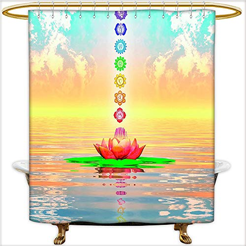 Giraffe Blue Flower Shower (Qinyan-Home Shower Curtain Chakra Icons in Sky from a Water Lily Lotus Flower in Sea Sacred Relax Theme for Blue Yellow. Decorative Shower Curtain Liner with 12 Hooks.W72 x H96 Inch)