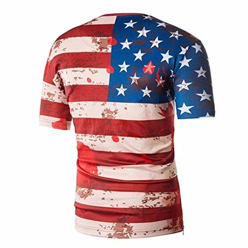 Daoroka Top Blouse,Summer Men Short Sleeve American Flag Slim Independence Day Blouse T-Shirt Fashion Top Hot Sale by Daoroka (Image #1)