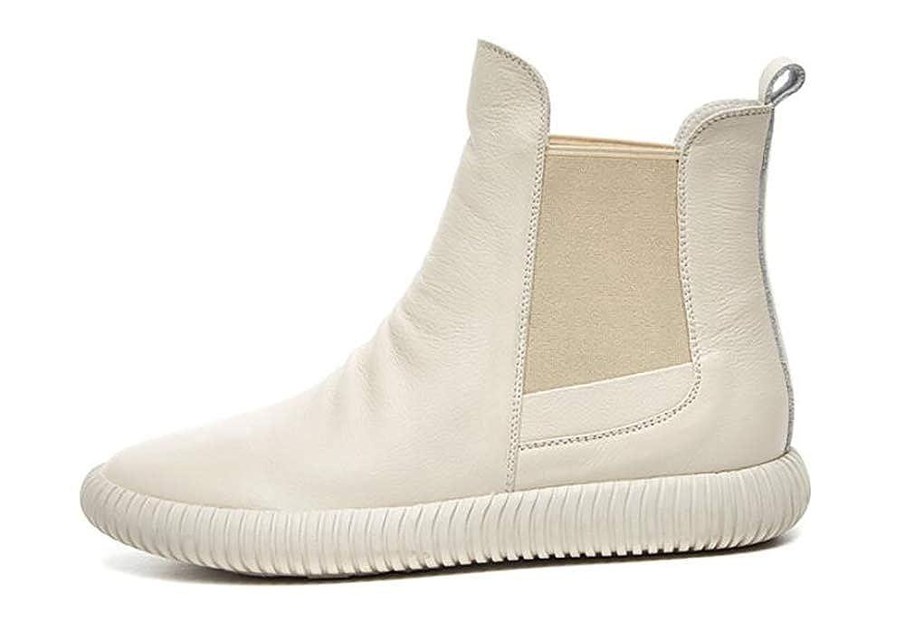 Rcnry Street Beat Rindsleder Damenschuhe einzelne Stiefel. Flachboden Leder High-Top-Schuhe Damenschuhe