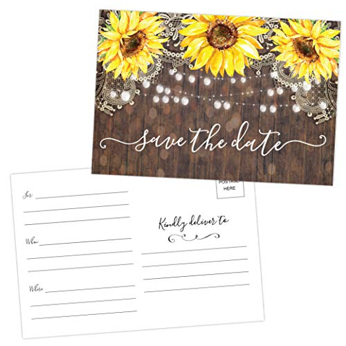 50 Sunflower Save The Date Cards for Wedding, Engagement, Anniversary, Baby Shower, Birthday Party, Wood Save The Dates Postcard Invitations (Date The Save Wood)