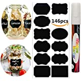 Chalkboard Labels,146pcs Waterproof Reusable Chalkboard Stickers with 1 White Chalk Markers Window Pens Erasable for Labeling Mason Jars, Pantry, Craft Rooms & Closets - Organize Your Home & Office