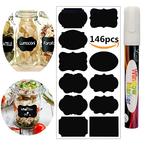 Chalkboard Labels - 146pcs Waterproof Reusable Chalkboard Stickers with 1 White Chalk Markers Window Pens Erasable for Labeling Mason Jars - Pantry - Craft Rooms & Closets - Organize Your Home & Office
