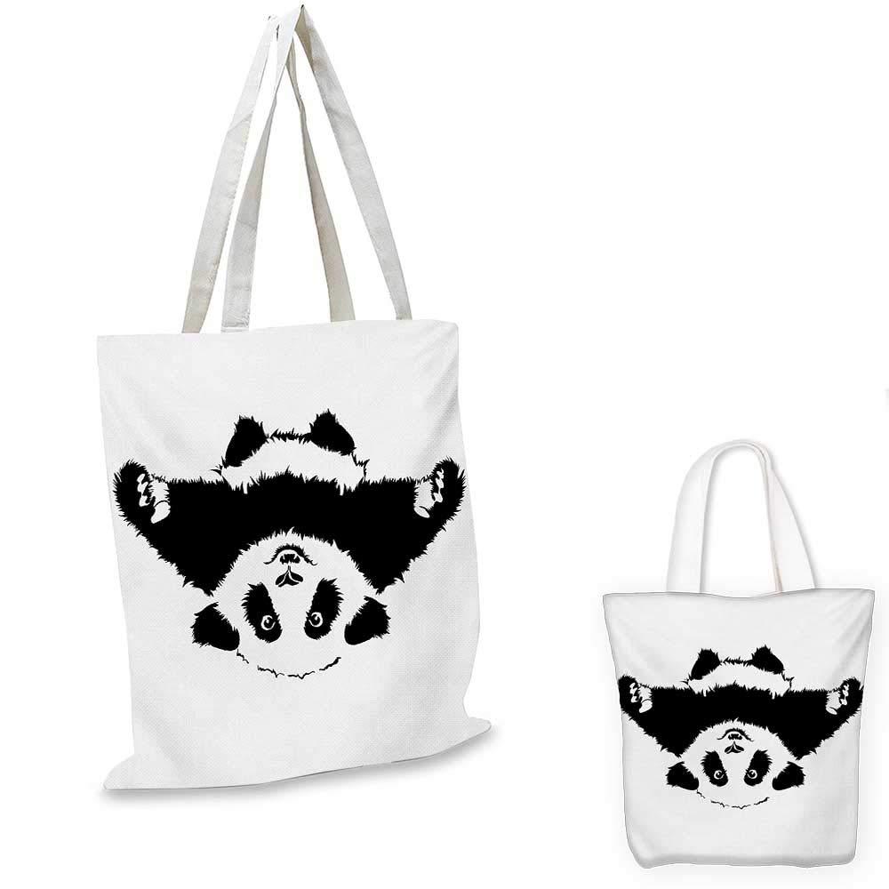 14x16-11 Panda canvas messenger bag Cute Panda Face Head and Small Footprint Silhouette Childish Kids Theme Illustration canvas beach bag Black White