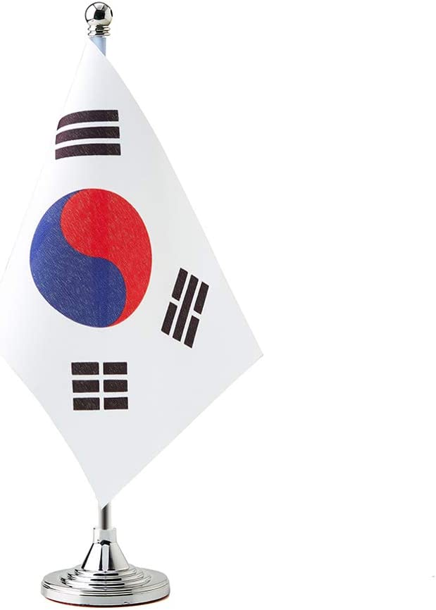 South Korea Small Table Flags Decor Korean Mini Desk Flag on Stand Base Decoration (South Korea Flag)