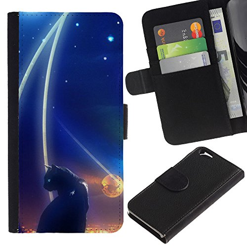OMEGA Case / Apple Iphone 6 4.7 / abstract black cat night space dark / Cuir PU Portefeuille Coverture Shell Armure Coque Coq Cas Etui Housse Case Cover Wallet Credit Card